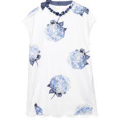 Monnalisa Blue Floral Cotton Jersey Dress with Necklace at Childrensalon.com