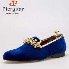 Piergitar New Style Velvet with Beading Men Shoes Loafers Smoking Slipper Free Shipping