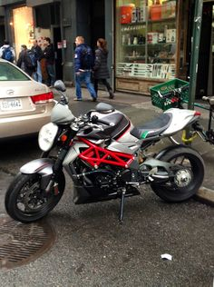 Awesome looking MV Agusta Brutale on Street in Manhattan in the middle of December! Mv Agusta, Sportbikes, Manhattan, Naked, December, Middle, Motorcycle, Street, Awesome