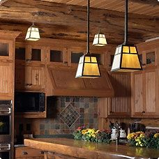 rustic lighting just like at The Animal Kingdom Lodge Craftsman Style Decor, Craftsman Lighting, Craftsman Interior, Kitchen Lighting Fixtures, Kitchen Pendant Lighting, Kitchen Pendants, Light Fixtures, Pendant Lights, Bungalow Kitchen