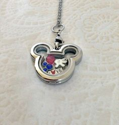 Living locket stainless steel Mickey Inspired locket with charms and Micky Birthstone