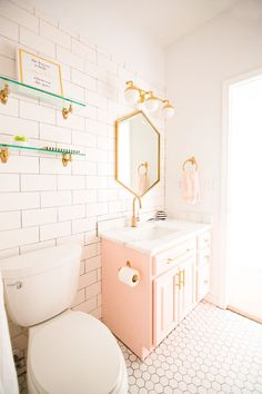 Modern Glam Blush Girls Bathroom Design gold hexagon mirror blush cabinets gold hardware white hexagon floor glass shelves pink bathroom cabinets gold orb # DIY Home Decor for girls Modern Glam Blush Girls Bathroom Design Interior, Girls Bathroom Design, Girls Bathroom, Floating Shelves, Home Decor, House Interior, Pink Bathroom, Bathroom Decor, Bathroom Inspiration