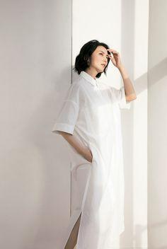 White Dress, High Neck Dress, Beauty, Dresses, Japanese, Woman, Fashion, Turtleneck Dress, Vestidos