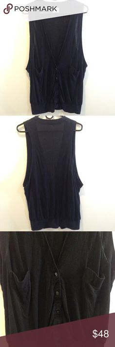 FREE PEOPLE Black Sleeveless Cardigan Vest Free people awesome button down vest cardigan- whatever you wanna call it- super soft and looks great with anything. Not lined and is in good condition! Free People Tops Button Down Shirts