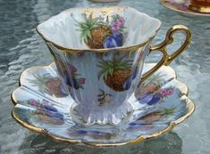 Pineapple and Plum Lusterware Tea Cup and Saucer Photo by Fresh Lens Photography Tanya Miller