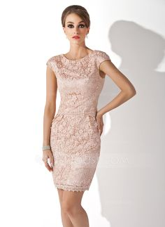 Sheath/Column Scoop Neck Knee-Length Lace Mother of the Bride Dress (008006113)