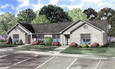 Ranch   Multi-Family Plan 61274     3brms in each.. the Mstr has it's own door to the bathroom