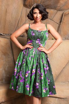 Pinup Couture Jenny Dress in Purple Orchid Print