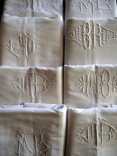 Monogrammed French linen sheets