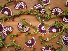 lariat flower necklace crochet burgundy pink long by PashaBodrum, $35.00