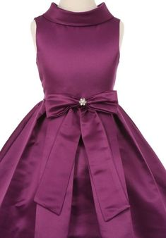 813ed3bf74f79 AkiDress Satin Cowl Neckline with Large Bow Flower Girl Dress for Little  Girl Black 12
