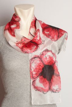 Gift Elegant Hand Painted Silk Scarf with Red by LigaKandele