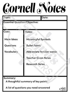 Cornell Notes Summary Worksheets  EnglishlinxCom Board