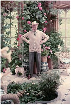 Beaton with his pug in the Winter Garden.