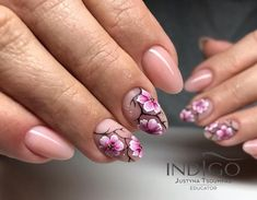 Lessons That Will Get You In The arms of The Man You love Round Shaped Nails, Round Nails, Shellac Nail Art, Gel Nails, Cute Nails, Pretty Nails, Cherry Blossom Nails, Indigo Nails, Nailart
