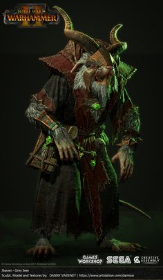 ArtStation - Total War: WARHAMMER II - Skaven - Grey Seer, Danny Sweeney Warhammer Skaven, Warhammer Art, Fantasy Battle, Fantasy Warrior, Warhammer Fantasy Roleplay, Age Of Sigmar, Apocalypse Art, Dark Warrior, Total War