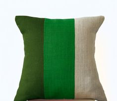 Chic Green Burlap Pillow -Throw Pillows color block- Decorative green cushion cover- Burlap Throw pillows -16x16 -Forest moss green pillows