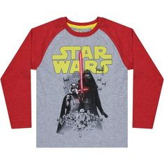 Star Wars Bad Guys Raglan Long Sleeve T-Shirt, Grey/Red ❤ liked on Polyvore featuring tops, t-shirts, grey t shirt, long sleeve tops, red long sleeve t shirt, red long sleeve top and grey long sleeve t shirt