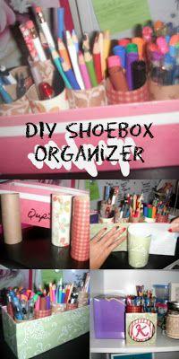 DIY Shoebox Organizer with toilet paper rolls