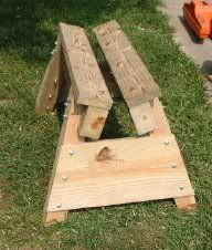 39 Free Sawhorse Plans in the Hunt for the Ultimate Sawhorse   This one is for cutting wood with a chainsaw.
