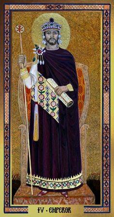 IV Emperor ~ Byzantine Tarot by John Matthews & Cilla Conway The Emperor Tarot, Tarrot Cards, Astro Tarot, Epic Of Gilgamesh, Online Tarot, Tarot Major Arcana, Byzantine Art, Cartomancy, Tarot Card Decks