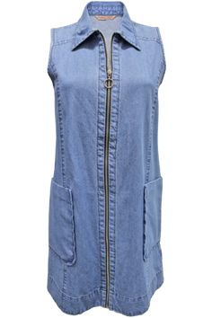 71fda417d178c6 This denim dress features a front zip closure and two side pockets. It s  perfect for