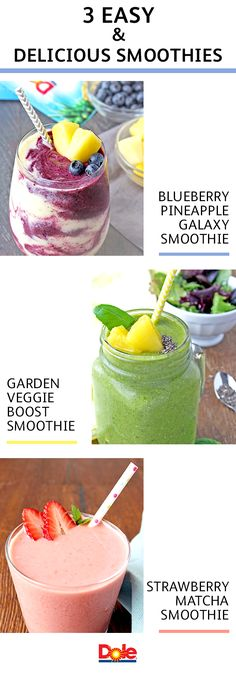 Smoothies are an easy way to get delicious fruits and vegetables into your daily routine. Start the day right with the refreshing Garden Veggie Boost Smoothie or try eating your colors with the mouthw Matcha Smoothie, Juice Smoothie, Smoothie Drinks, Smoothie Recipes, Smoothie Detox, Smoothie Bowl, Yummy Smoothies, Yummy Drinks, Healthy Drinks