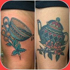 Fresh cup of java, healed teapot from a year and a half ago. Takk Susanne! #bluearmstattoo