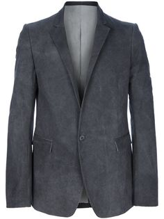 Grey cotton blazer from Poeme Bohemien featuring notch lapels, a single-button front fastening, flap pockets to the front, a back vent and long sleeves with buttoned cuffs.
