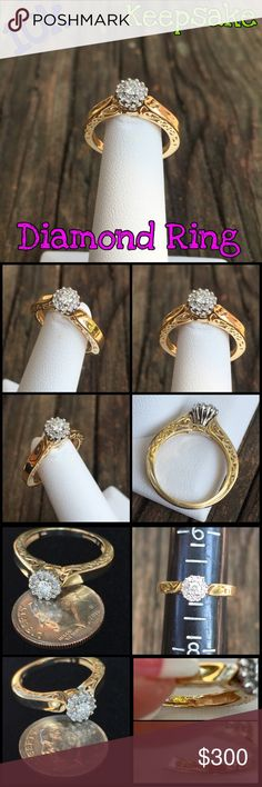 10k Gold Keepsake .25 ctw Diamond Cluster Ring Stunning 10k Yellow Gold .25 ctw Diamond Cluster Ring w/ beautiful detail on band. Size 6.75-7. Marked 10k KEEPSAKE. Weight 3.10 grams. Center diamond is .10ct total = .25 ctw. The ring and diamond are in great condition. Would make a great gift for that special someone you love at an affordable price! Thanks 4 looking. I ship same day. Buy w/ confidence 340+ 5 star feedback. Please make REASONABLE offer using offer button only. No low ball or…