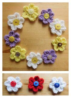 Crochet Flowers Design Knitted Summer Flowers Free Pattern - For knitting lovers, we have compiled a few Free Flower Knitting Patterns for you. They are beautiful and spring perfect knitted flowers. Leaf Knitting Pattern, Knit Headband Pattern, Baby Hats Knitting, Baby Knitting Patterns, Loom Knitting, Free Knitting, Knitting Toys, Knitted Flowers Free, Crochet Flower Patterns
