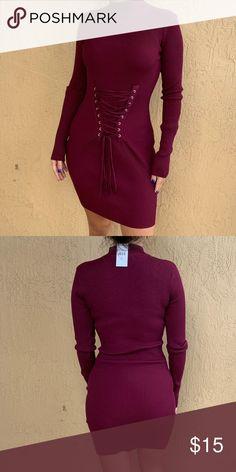 0b98f85e781 Fashion Nova burgundy dress Fashion nova burgundy dress with ties Fashion  Nova Dresses Midi