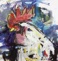 Abstract Rooster Painting created with mixed media on paper. Loose, colorful & expressive rooster artwork by Robert Joyner.