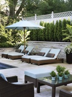 Design by : Artistic Gardens. Photo by Donna Griffith. From Canadian House and Home. Design by : Artistic Gardens. Photo by Donna Griffith. From Canadian House and Home. Backyard House, Backyard Privacy, Pool Backyard, Backyard Fireplace, House Yard, Backyard Retreat, Outdoor Rooms, Outdoor Living, Outdoor Pool Furniture