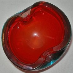 SMALL AWESOME Red MURANO Glass BOWL 2 Little Spots GLOW in BLACK LIGHT has FLAWS