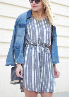 @oldnavy striped Linen Dress and denim jacket