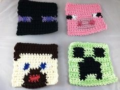 crochet minecraft pattern | Crochet Minecraft-Inspired Coasters. $10.00, via Etsy.