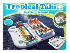 Tropical Tahiti Floating Island Inflatable Raft Party Boat Lake River 6 PERSON #TropicalTahiti