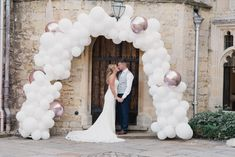 Rose gold and white balloon arch at Notley Abbey in Buckinghamshire. Balloons are a perfect alternative to flowers. Country House Wedding Venues, White Balloons, Wedding Balloons, Balloon Arch, Arches, Celebrity Weddings, 30th, How To Memorize Things, Alternative