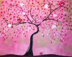 Canvas Art Ideas Acrylics - Heart Blooms - Valentine Inspired painting at Pinot's Palette - Best Art Pins Pink Painting, Painting For Kids, Painting Trees, Heart Painting, Valentines Art, Valentine Ideas, Romantic Things To Do, Mini Canvas Art, Paint And Sip