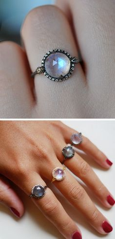Moonstone rings,...love the idea of wearing several together of the same style or complimentary styles, even stacking them would be interesting.