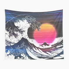 Great Wave Glitch by ind3finite | Redbubble Tapestry Bedroom, Tapestry Wall Hanging, Great Wave Off Kanagawa, Retro Waves, Star Stickers, Retro Aesthetic, Vaporwave, Night Skies, Wall Prints