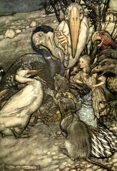 "They all crowded round it panting and asking, ''But who has won?"". ""Alice's Adventures in Wonderland"" (1907) illustrated by Arthur Rackham"