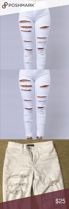 Fashion Nova Jeans White, distressed fashion nova jeans. Fit like jeggings buy a little baggy on me which is why I'm selling. Size 0 w23 Fashion Nova Jeans Skinny