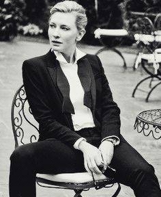 CONFIDENCE If you're Cate Blanchett you can be female and sit like this and still look dope.