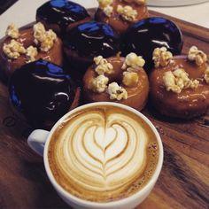 Salted Caramal & Popcorn and Chocolate Ganache & Creme Patissiere Doughnuts. #doughnuts #roughdiamond #warrnambool #3280 #specialtycoffee #flatwhite by rough_diamond_coffee