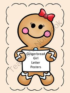 Gingerbread Girl Full Page Alphabet Letter Posters Uppercase and Lowercase from My Kinder Garden on TeachersNotebook.com (80 pages)  - Here is a set of large full page gingerbread girl letter posters. The posters contain a page with each uppercase letter, each lowercase letter, and a page with the uppercase letter along with the matching lowercase letter.