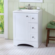 This simple and compact white Lancaster vanity adds a nice craftsmen touch to any bathroom. With a cabinet and three side drawers, all of your bathroom items are easy to access. Its mold, bacteria and mildew-resistant top also ensures that your bathroom remains protected year-round.