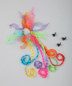 Take a look at this Brights Curly Pony Tail Holder & Butterfly Clips by Hot Focus on #zulily today!