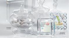 Contenitore di vetro e mini cornici di cristallo